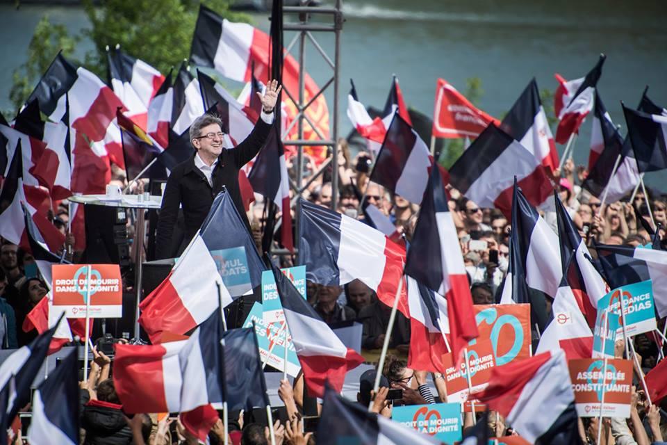 70.000 pessoas assistiram ao comício da França insubmissa. Em 16 de abril de 2017. Foto: Stéphane Burlot