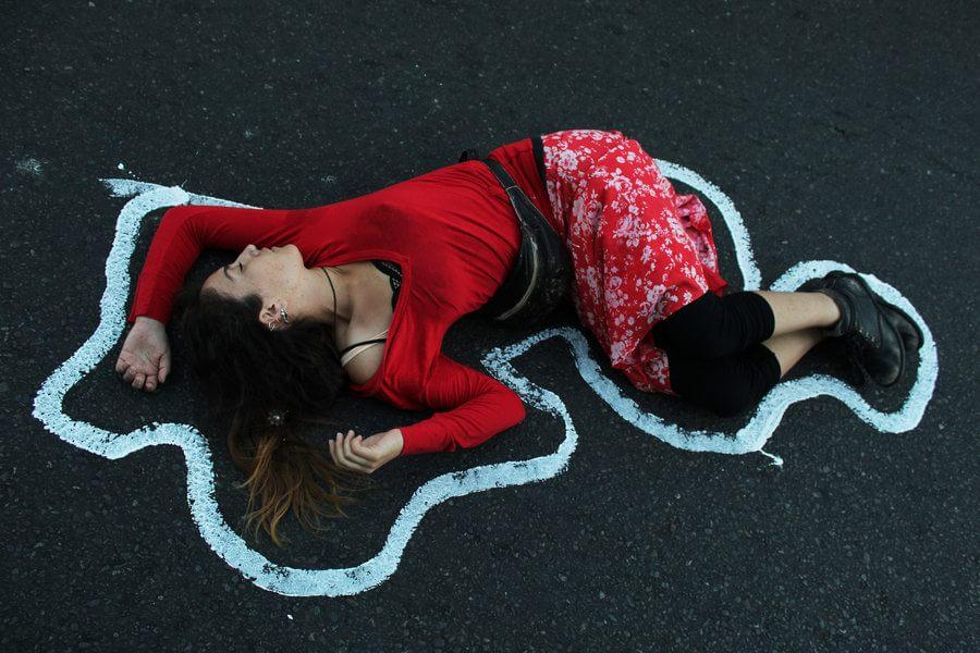 Manifestação contra o feminicídio.