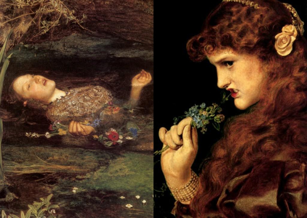 Ofelia de John E. Millais (1852) e Love Shadow de Anthony Frederick Augustus Sandys (1867)