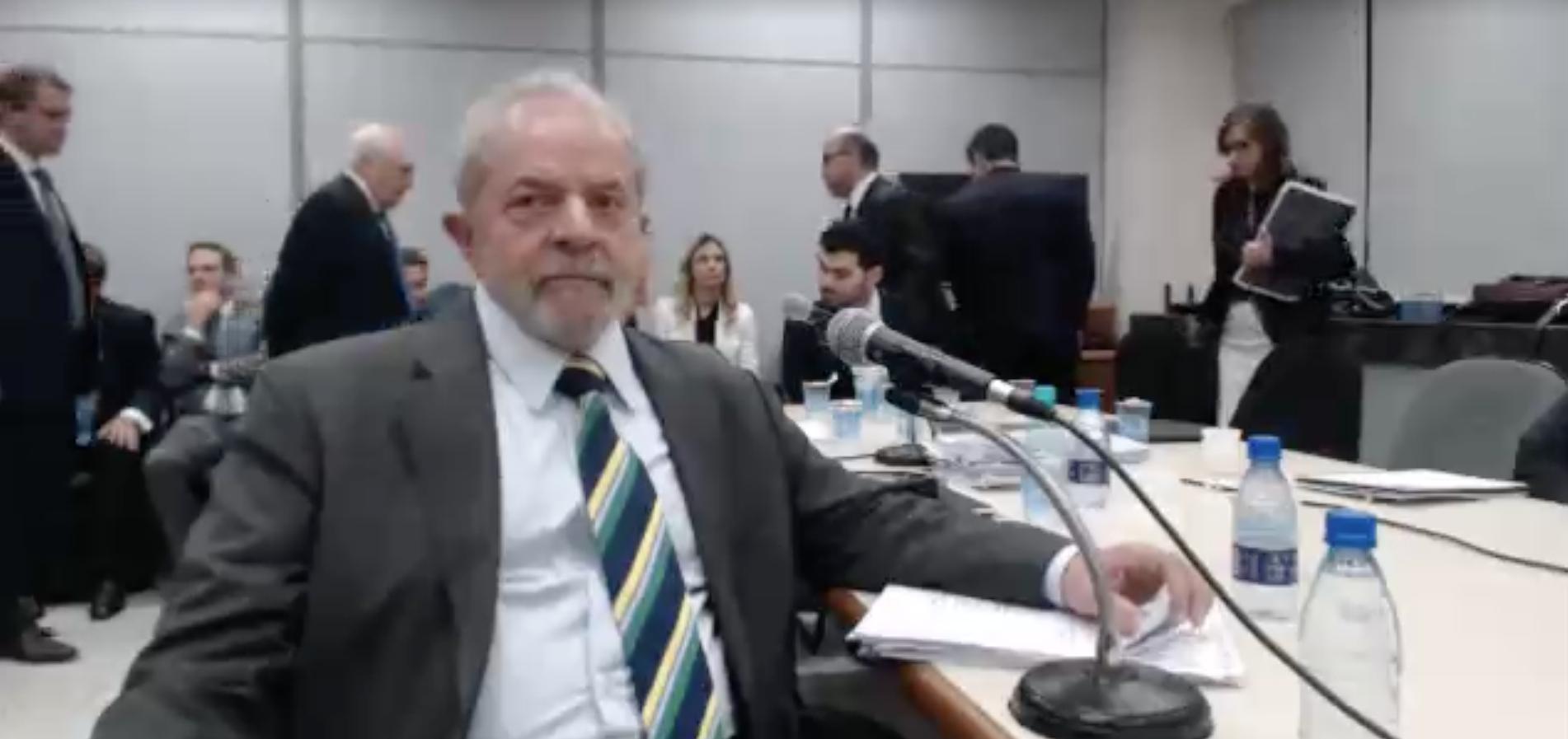 Frame capturado das imagens disponibilizadas do depoimento de Lula.