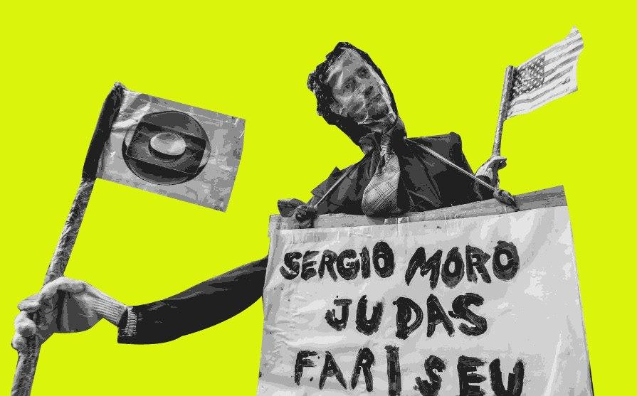 Boneco do juiz Sérgio Moro fantasiado de Judas Fariseu.