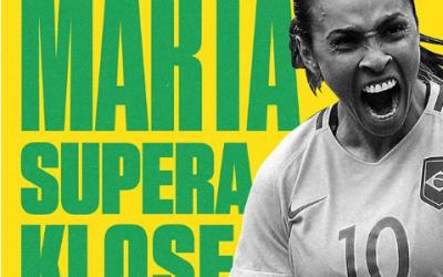 Temos uma rainha: Marta supera Klose e é a maior artilheira de todas as Copas.