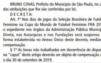 Servidores da cidade de São Paulo são liberades durante jogos do Brasil da Copa do Mundo Feminina