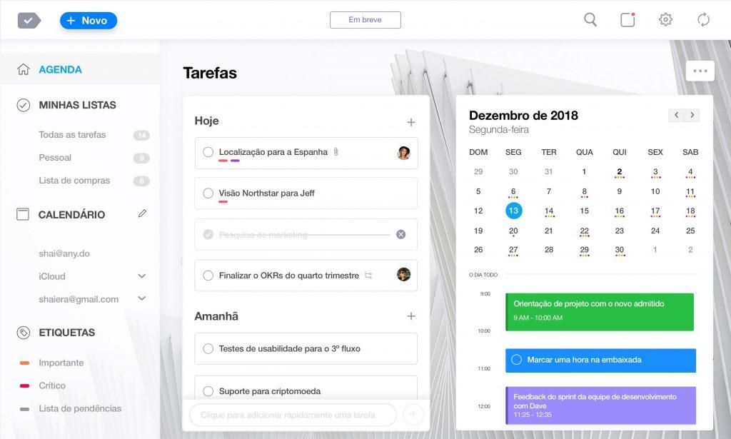 tela agenda do aplicativo any.do