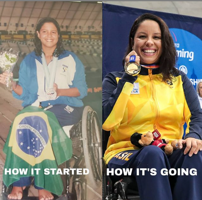 """Imagem de comparação de antes e depois. Na esquerda temos Edênia em sua primeira medalha, e na direita a vitória mais recente. Em ambas ela está sobre a cadeira de rodas e sorri, ao segurar a medalha. A esquerda está escrito """"How it started/ Como começou"""" e a direita está escrito """"How It's going/ Como está indo""""."""